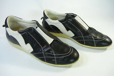 Salvatore Ferragamo Leather Logo Sneakers Size 8AA Black White Trainers Bowling