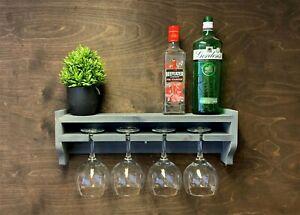 Grey Wooden Gin Shelf Bottle 4 Glass Holder Wall Mounted Rack Home Bar (GS-GR)EM