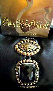 Amy Kahn Russell  Vintage Vermeil Sterling Silver Faceted Onyx Bracelet