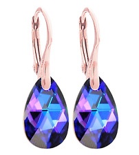 Swarovski® Rose Gold Vermeil Earrings. 16mm Vitrail Light Pear Crystals From
