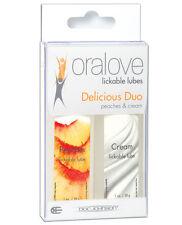 Sensual Oralove Delicious Duo Flavored Lube - Peaches & Cream (Made in U.S.A.)