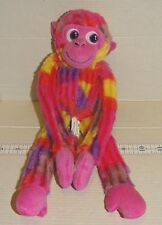 "Toy Factory Pink Purple Yellow Monkey Patchwork Plush hangs 13"" 2015"