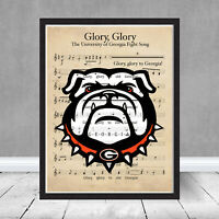 University of Georgia Bulldogs Glory Fight Song Football Sheet Music Gift Art