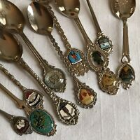 Craft Lot of 10 Souvinour Collector Spoons Stainless States Cities