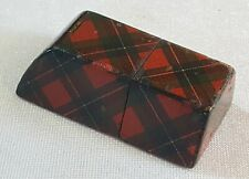 Treen wood vintage Victorian antique Scottish Tartan ware sewing needle case