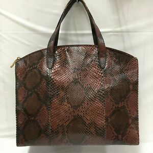 Auth Gucci Python Hand bag leather Red From Japan 0620*2205