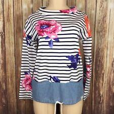 $88 Joules Mariana Floral Sweatshirt Sz8 Drawstring Chambray Waist Pockets B122