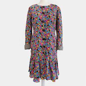 Vintage 80s Joan Leslie Studio Dress 100% Silk Polka Pattern Women's Size 10