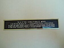 Wayne Gretzky Oilers Engraved Nameplate For A Signed Hockey Jersey Case 1.25X6