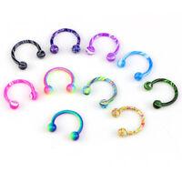 10PCS@Stainless Steel Horseshoe Bar Lip Nose Septum Ear Ring Stud Piercing ^D