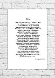 Alone by Edgar Allan Poe  - Poem - A4 Size