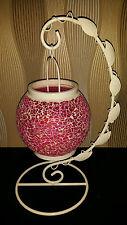 ELAMBIA flammenl. Kerze Farbw. Timerfunktion Mosaik-Hängelaterne H. ca.38cm Pink