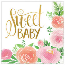 BABY SHOWER Sweet Floral LUNCH NAPKINS (16) ~ Party Supplies Serviettes Girl