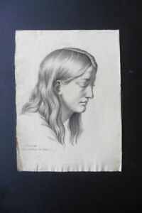 FRENCH NEOCLASSICAL SCHOOL 19thC - PORTRAIT YOUNG WOMAN - CHARCOAL SIGNED RAVET