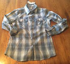 Pass Port Plaid 100% Cotton Button Front Shirt Blouse Women's Size S NWT!