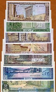 Set Lebanon, 1;5;10;25;50;100;250 Livres, 1980-1988, P-61-62-63-64-65-66-67, UNC