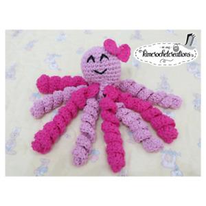 PINK Crochet OCTOPUS Preemie, Newborn, comfort doll, NICU, 100% cotton, GIRL