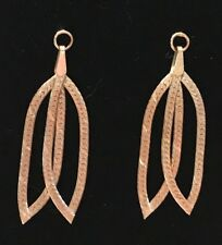 14k Solid Herringbone With Diamond Cutting Double Dangle Earrings