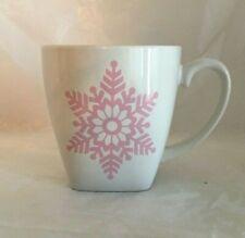 Pink Snowflake Coffee Mug Ceramic Cup Christmas Winter 12 Oz