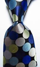 New Classic Polka Dot Black White Blue JACQUARD WOVEN Silk Men's Tie Necktie