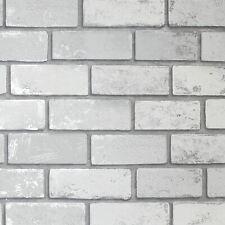 Arthouse Metálico Blanco Ladrillo Pintado 692201 Sombreado Efecto Plata Reflejos