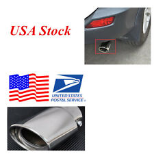 (USA Stock) 1pcs Silver Chrome Stainless Steel Exhaust Tip Pipe Exhaust Muffler