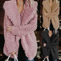 Womens Winter Teddy Bear Fluffy Coat Warm Faux Wool Jacket Outerwear Hoodies AB