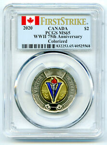 2020 CANADA $2 TOONIE PCGS MS65 COLORIZED WWII 75TH V-E DAY VE-DAY FIRST STRIKE