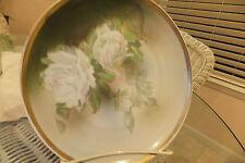 "Rare Antique shaby Wurtemberg porcelain plate 8 1/2"" white roses gold edge"