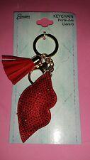 Cute Key Chain Car Key Ring Lips Pendant Rhinestone Keychain RED LIPS NEW