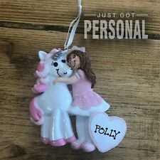 Hand Personalised Princess & Her Unicorn Christmas Tree Decoration -Polly Design