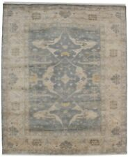 Hand-Knotted Floral Design Oushak 8X10 Stone Grey Oriental Rug Wool Home Carpet
