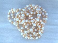 "48"" White & Peachy Pink Color Round Freshwater Pearl Necklace No Clasp Opera"