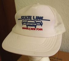 STATE LINE AUTO AUCTION trucker cap Waverly med hat New York cars logo snapback