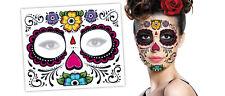 Day of The Dead Temporary Tattoo Floral Flower Dia De Los Muertos Sugar Skull !
