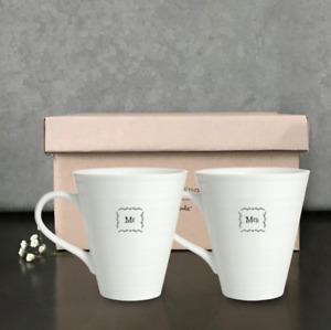 East of India Mr & Mrs Boxed Mug Set Coffee Tea Cup Wedding Engagement Gift