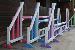 SET OF 3 HORSE SHOW JUMPS WITH POLES & FILLERS PINK PURPLE BLUE