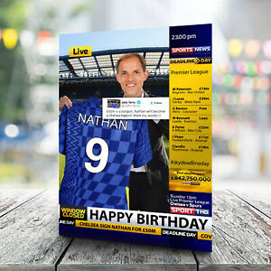 Chelsea Birthday Card - Personalised With Any Name and Age.