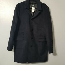 New EXPRESS Men/'s BLACK Trench Rain Coat Fitted Water Resistant MEDIUM OR  XL