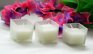 24 5cm Square Frosted Cube Wedding Table Centrepiece Decoration White Wax Candle