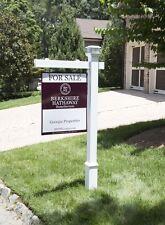 Khaleesi Vinyl PVC Real Estate Sign Post - Solar Cap - White - 5 Feet - 47in Arm