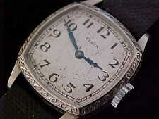 Beautiful Ladies Vintage Art Deco White Gold ELGIN With Lizard Band