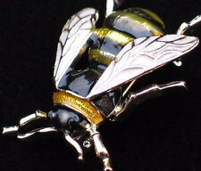 WHITE BLACK YELLOW JACKET BUG INSECT WASP FLY BUMBLE BEE PIN BROOCH JEWELRY 1.5""
