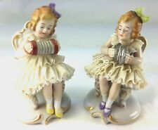 TWO RARE SITZENDORF EARLY MARK GIRLS PLAYING INSTRUMENTS PORCELAIN FIGURINES