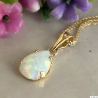 2Ct Pear Cut Fire Opal Solitaire Pendant Solid 18K Yellow Gold Finish Free Chain