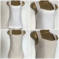 Monsoon White or Stone Cotton Jersey Vest Top S - X/L (m-45h)