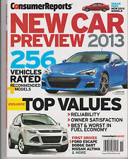CONSUMER REPORTS NEW CAR PREVIEW 2013, 256 VEHICLES RATED RECOMMENDED MODELS.