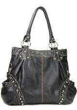Black distress Style Designer Urban Studded Buckle School Tote Bags NR