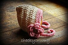 Crochet pixie hat, bonnet with flower. Newborn. Photo photography prop.