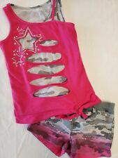 Justice Girls 2-Piece Pink Camo Outfit Sleeveless Shirt & Short W/Rhinestones 8R
